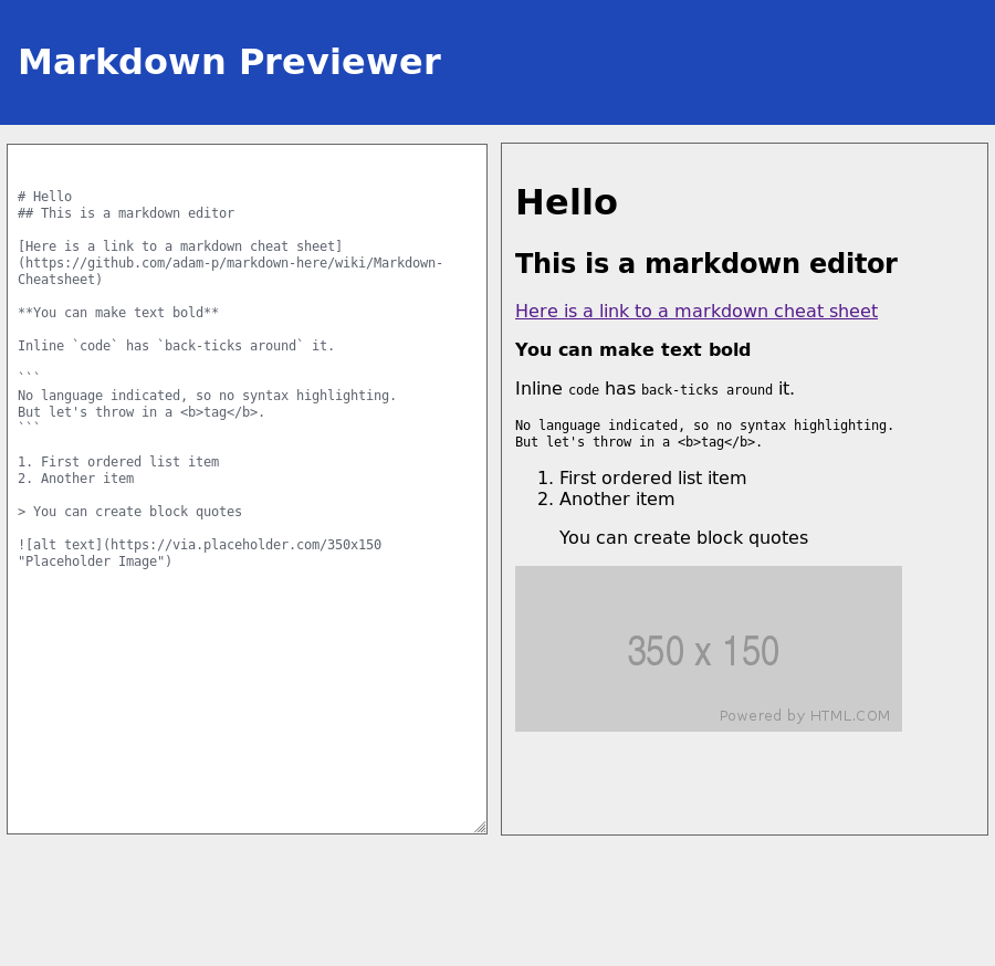 Screenshot of markdown previewer